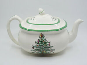 LARGE VINTAGE SPODE CHRISTMAS TREE S3324 TEAPOT & LID