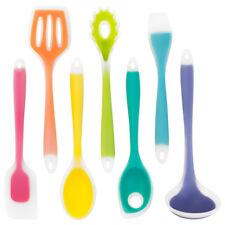 Rainbow Kitchen Utensils | 7 Piece Silicone Cooking Set: Spatulas, Spoons, Ladle