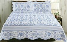 FLORAL TOILE STRIPED BLUE WHITE QUILTED DOUBLE 243CMX264CM BEDSPREAD THROW
