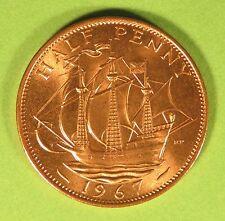 1967 Elizabeth II British halfpenny ship half pence UNC fresh from mint tube