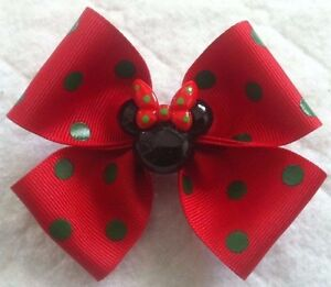 """Girls Hair Bow 4"""" Wide Red & Green Polka Dot Minnie Bow Solid French Barrette"""