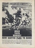 "1960 Quantas PRINT AD Airline ""...flies to Rome""  Roman Chariot"