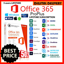 2020 MS Office 365 Pro Plus ✅ Lifetime Account ✅ 5 PCs Win Mac INSTANT DELIVERY