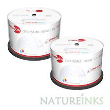 100 Primeon Ritek Ultra Gloss Printable Blank CD-R CD Waterproof Discs 700MB