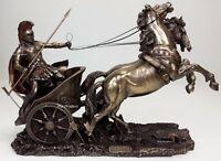 ACHILLES in ROMAN GLADIATOR CHARIOT Sculpture Statue Bronze Color