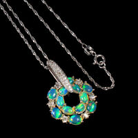 Unheated Oval Fire Opal Rainbow Full Flash 6x4mm Cz 925 Sterling Silver Necklace