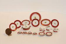 Dollhouse Miniature Porcelain Red Ba 00004000 nd Dinner Set
