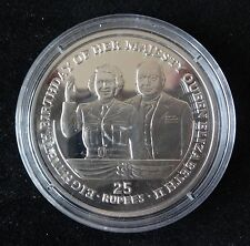 2006 SILVER PROOF SEYCHELLES 25 RUPEES COIN QUEEN ELIZABETH'S 80th BIRTHDAY