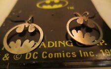 Vintage Licensed DC Comics Batman Dangling Round Sterling Silver Earrings MOC