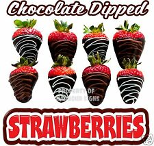 """Chocolate Dipped Decal 24"""" Covered Strawberries Concession Cart Food Truck"""
