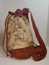 Lucky Brand Womens Cherry Blossom Drawstring Canvas and Suede Backpack