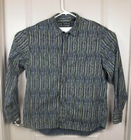 Kenneth Cole Men's Long Sleeve Shirt XXL Black w/ white&Gold stripes