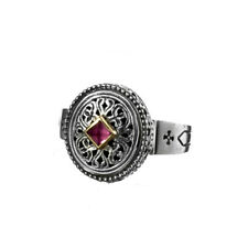 Gerochristo 2305N ~ Solid Gold, Silver & Tourmaline Medieval-Byzantine Ring