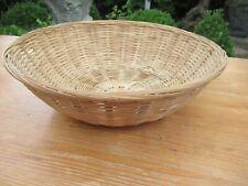 Vintage round woven wicker basket, bread basket, fruit basket, decorative basket