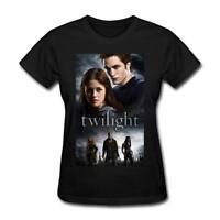 Women's The Twilight Saga Graphic Cotton Short Sleeve T-Shirts Black