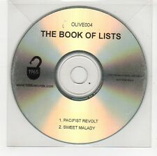 (GG760) The Book of Lists, Pacifist Revolt / Sweet Malady - DJ CD