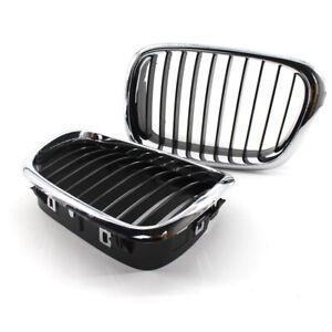 Pair of Half Chrome Front Kidney Grille fit for BMW E39 5 Series 1999-2003