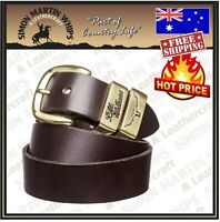 RM Williams 1.5 inch Solid Leather Belt CHESTNUT Gold Buckle - Australian Made