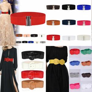 Women Ladies Wide Belt Metal Buckle Cinch Waist Belt Elastic Dress Waistband