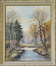Impressionist Oil Painting on Canvas of a Landscape of a Stream Signed by Artist