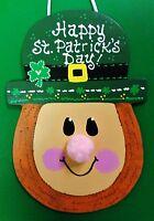 ST PATRICK'S DAY Leprechaun Sign Wall Art Door Hanging Hanger Plaque Irish Decor