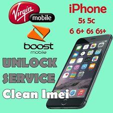 USA Virgin Mobile & Boost Mobile UNLOCK SERVICE iPhone 5c 5s 6 6+ 6s 6s+ SE 7 7+