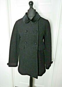 Jack Wills Ladies Coat Wool Blend Black UK10 Double Breast Smart Work Occasion