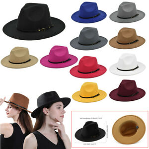 Mens Fedora Hats Women Jazz Hat Unisex Wide-Brim Panama Style Hat Felt Cap