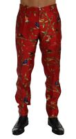 NEW $1900 DOLCE & GABBANA Pants Red Silk Bird Print Dress Formal s. IT50 / W36