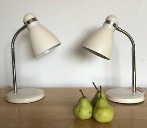 Vintage Pair Lamps swan neck bendy ~ pearl white/cream & chrome ~desk lights x 2