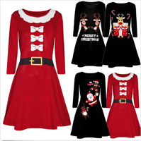 Women Christmas Printed Long Sleeve Evening Prom Costume Swing Party Dress P