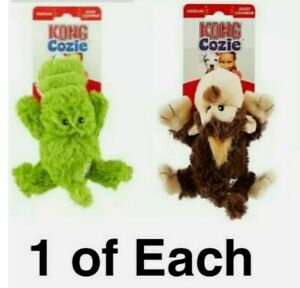 KONG Cozies - SET OF (2) Plush SOFT Dog Toys Alligator & Monkey SQUEAKY