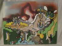 """original outsider art modern painting """" This Could Be A Machine"""" abstract canvas"""