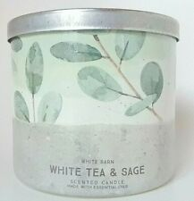 Bath & Body Works White Barn White Tea & Sage Scentes 3 Wick Candle 14.5 oz New