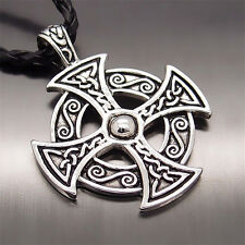 """Hot Men's Silver Celtic Solar Cross New Pewter Pendant with 20"""" Choker Necklace"""