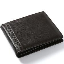 100% Genuine Leather Coffee Men's Bifold Wallet Litchi Short Wallet Card Holder