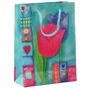 Sac cadeau - Tulipes 17 x 12.5 x 5.5cm - toutes occasions - multicolore - neuf