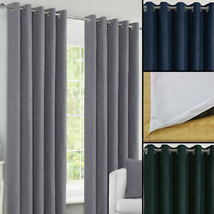 Canterbury Smooth Chenille 240GSM Blackout Pair Ring Top Eyelet Thermal Curtains