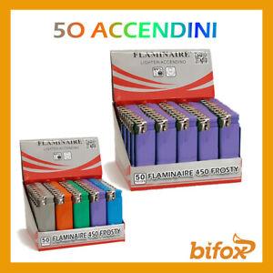 50 ACCENDINI FIAMMA A SCATTO BOX ACCENDINO SLIM RICARICABILI FLAMINAIRE COLORATI