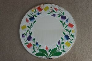 Superb Hand Crafted Mosaic Mirror With Tulips Design White Background 60 Cm. W.