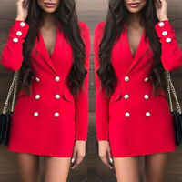 Sexy Women Red Bodycon Blazer Double Breasted Long Sleeve Deep V-neck Dress S~XL
