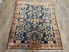 "Antique handwoven rug size 5'4""×5'10"" traditional Lilihan design dark blue"