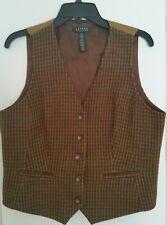 LRL RALPH LAUREN Women's Brown  Wool Vest  size 14 - Very Good Cond.