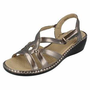 Ladies Black/Navy/Pewter/Light Gold Eaze Wedge Sandal UK Sizes 3 - 8 : F3111