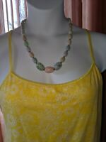 Vintage Multi Color Pastel Speckled Egg Necklace with silver accents 24'' Strand