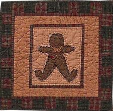 """Gingerbread Quilted 17"""" X 17"""" Quilt Block Wallhanging Or Table Mat Tea Dyed"""