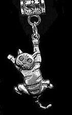 Cute Cat kitten hanging Charm Sterling Silver 925 European dangle bead Jewelry