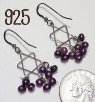 Vintage 925 Star of David (Mogen David) & Purple Pearl Cluster Hook Earrings