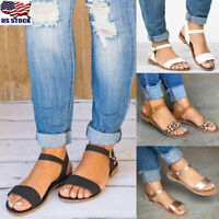 Womens Open Toe Buckle Sandals Casual Summer Ankle Strap Flats Shoes Size 5-8.5