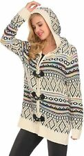 Chunky Knit Hoodie Cardigan Sweater Size XL Multicolor Long Sleeve, Zipper Front